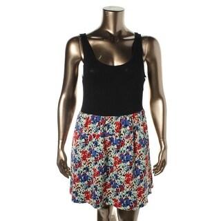 Eric & Lani Womens Juniors Casual Dress Floral Print Colorblock - XS
