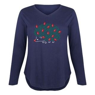 Christmas Hedgehog - Christmas Drinking Santa Ladies Plus V-Neck Long Sleeve Tee