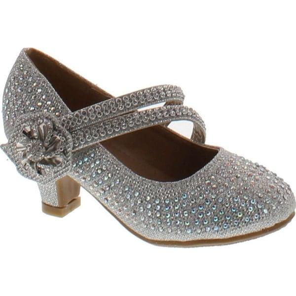 Link Justice-06 Children Girl Comfort Rhinestone Ankle Strap Kitten Heel Pumps