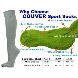 Light Gray Couver Knee High Unisex Sports Athletic Baseball Softball Socks(3 Pairs)