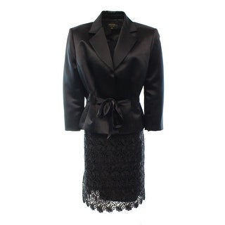 Tahari By ASL NEW Black Satin Women's 8 Belted Crochet Skirt Suit Set