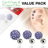 3 Pcs Value Pack of Assorted 316L Tragus Bar with Tanzanite Ferido Ball