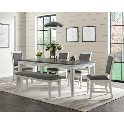 Del Mar White and Grey Dining Table with Leaf by Martin Svensson Home