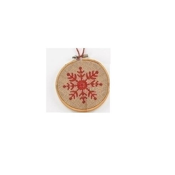 "4.5"" Tan and Red Embroidered Snowflake in Hoop Loom Christmas Ornament"