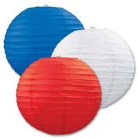 """Club Pack of 18 Round Red, White, and Blue Hanging Paper Lanterns 9.5"""" - Red"""