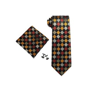 Men's Multi Color Plaids & Checks 100% Silk Neck Tie Set Cufflinks & Hanky