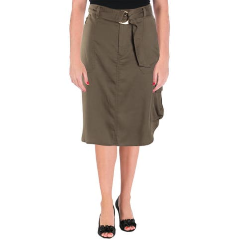 Lauren Ralph Lauren Womens Alkessa Pencil Skirt High-Low Belted