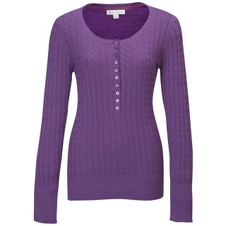 Lilac Bloom PLUS Ladies 'Audrey' Cable Knit Cotton Sweater