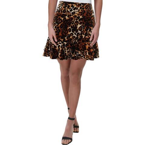 Aqua Womens Mini Skirt Animal Print Mini