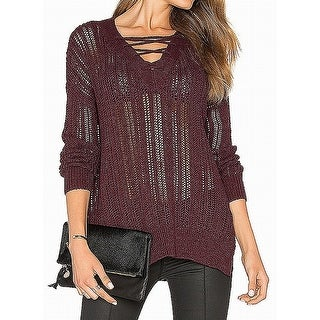 Michael Stars Pinot Womens Small Lace-Up Knitted Sweater