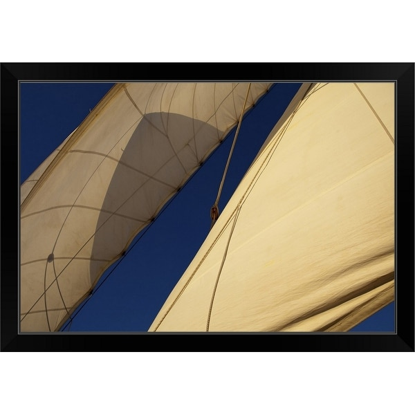 """""""Sails aboard sailing cruiseship Star Flyer while cruising in the Pacific Ocean"""" Black Framed Print"""