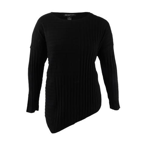 INC International Concepts Women's Asymmetrical Tunic Sweater (1X, Deep Black) - Deep Black - 1X