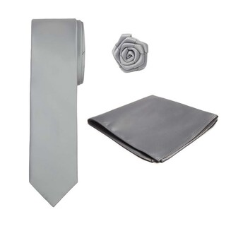 Boys Tie Hanky Open Rose Lapel Flower 3 pc Set (Option: Silver)