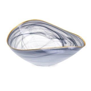 """13.5"""" Gray and Golden Colored Distressed Finish Decorative Glass Bowl - N/A"""
