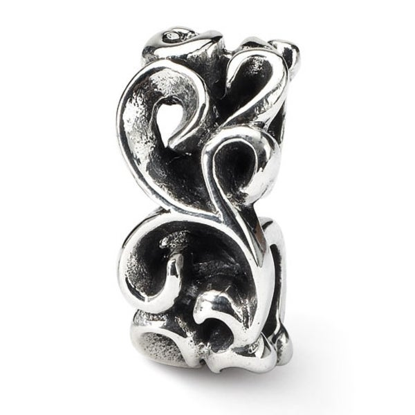 Sterling Silver Reflections Scroll Connector Bead (4mm Diameter Hole)
