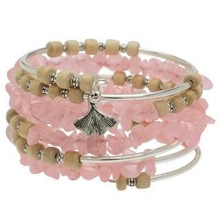 Boho Silver & Rose Quartz Gemstone Memory Wire Bracelet - Exclusive Beadaholique Jewelry Kit