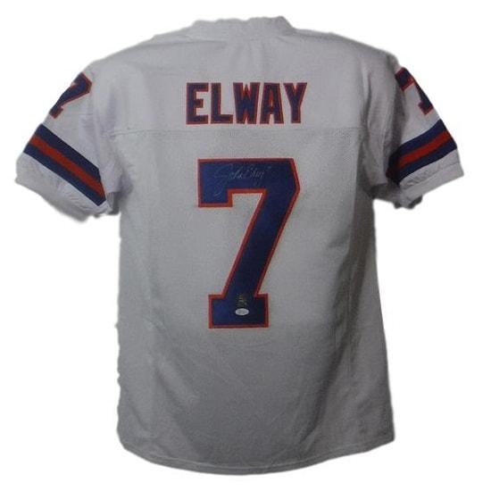 best service becd0 673a7 John Elway Autographed Denver Broncos XL TB White Jersey JSA