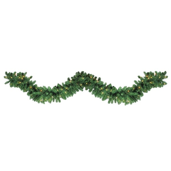 "9' x 14"" Pre-Lit Olympia Pine Artificial Christmas Garland - Warm White LED Lights - green"