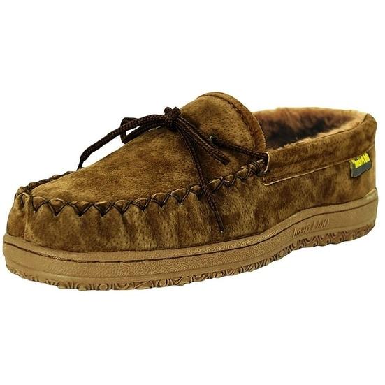 Old Friend Slippers Mens Sheepskin Loafer Moccasin Dark Brown 481166