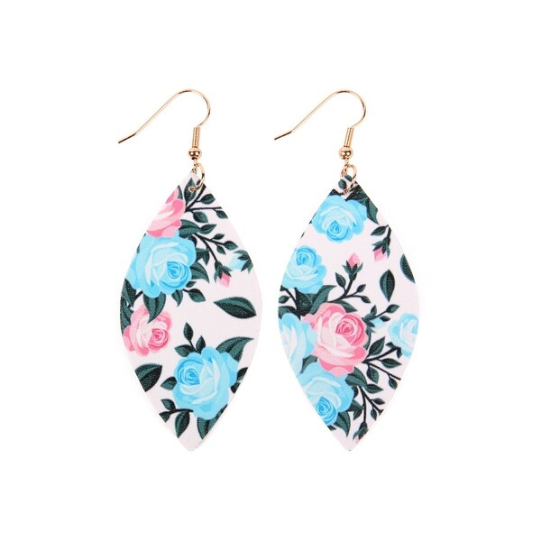 52f3c8c256bc Shop RIAH FASHION Floral Marquise Leather Earrings - Free Shipping On  Orders Over  45 - Overstock - 26517774
