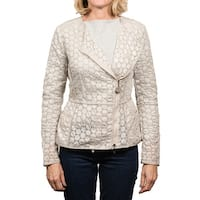 Moncler Majorelle Tonal Embroidered Asymetric Zip Jacket Women's