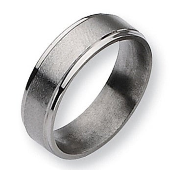 Chisel Grooved Edge Brushed and Polished Titanium Ring (6.0 mm)