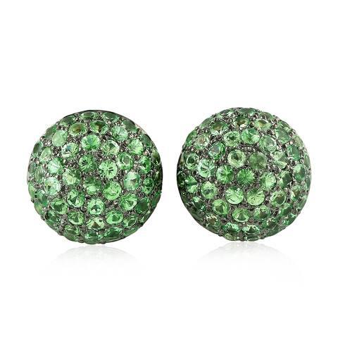 Tsavorite 18k Solid Gold 925 Sterling Silver Stud Earrings Gift Jewelry