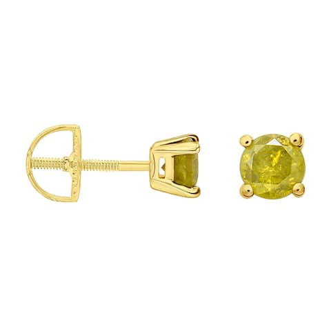 Prism Jewel 1/5 Ctw Round Yellow Color Diamond Solitaire Stud Earrings