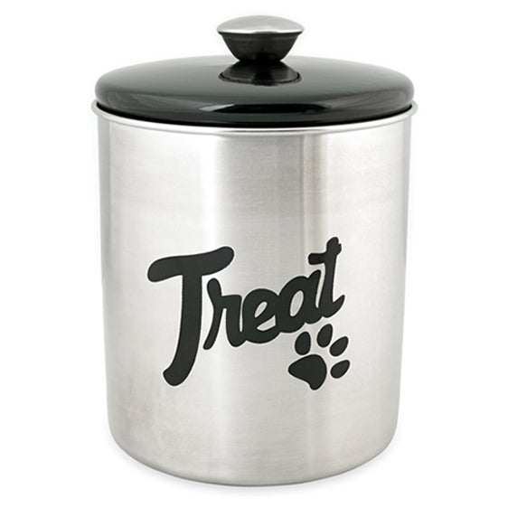 Stainless Steel & Black Top Treat Jar 16oz-