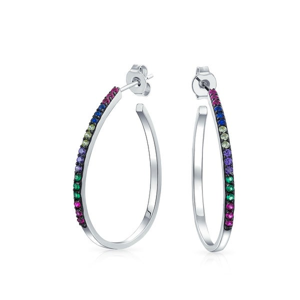 a9b635cb5 Shop Multicolor CZ Rainbow Gay Pride Open Oval Hoop Stud Earrings Cubic  Zirconia .925 Sterling Silver 1.25 Inch - On Sale - Free Shipping On Orders  Over $45 ...