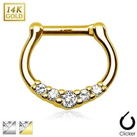 Five CZ Paved 14Kt Gold Septum Clicker (Sold Individually)