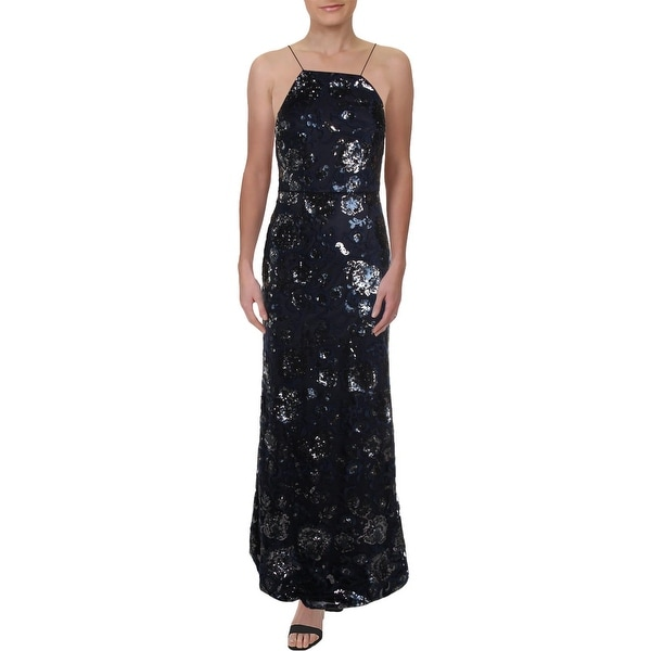 Adrianna Papell Womens Evening Dress Floral Sequined