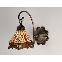 """Meyda Tiffany 18685 Scarlet Dragonflies 7"""" Wide 1-Light Wall Sconce with Stained Glass Shade - Mahogany Bronze - n/a"""
