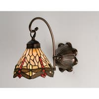 "Meyda Tiffany 18685 Scarlet Dragonflies 7"" Wide 1-Light Wall Sconce with Stained Glass Shade - Mahogany Bronze"