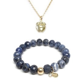 "Blue Sodalite 7"" Bracelet & Apple Gold Charm Necklace Set"