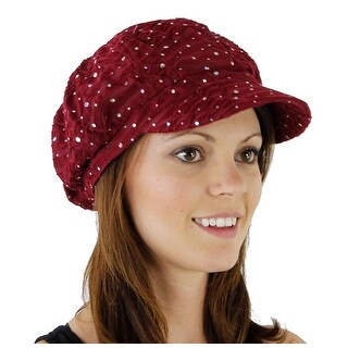 Women's Glitter Sequin Trim Newsboy Style Relaxed Fit Hat - Wine - wine with no flower