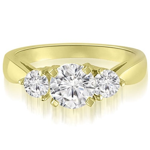 1.50 cttw. 14K Yellow Gold Classic Three-Stone Round Cut Diamond Engagement Ring