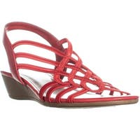 Impo Roma Criss Cross Wedge Slip On Sandals, Red