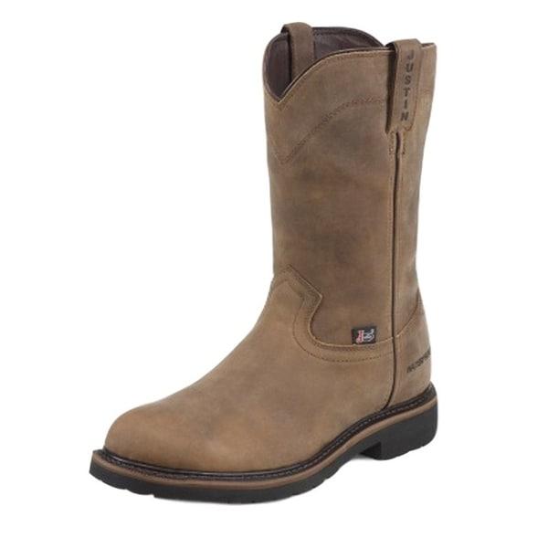 Justin Work Boots Mens Worker II Wyoming Western Waterproof Tan