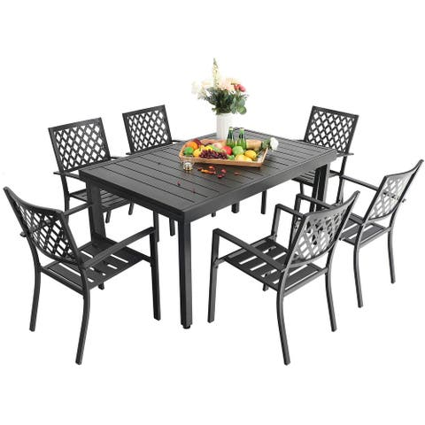 MFSTUDIO Seats up to 6/8 Outdoor Patio Dining Set, 6/8 Metal Stackable Chairs, 1 Rectangular Expandable Table