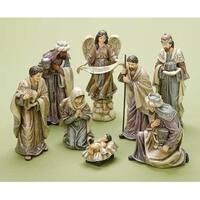 8-Piece Decorative Traditional Religious Christmas Nativity Figure Set - PURPLE