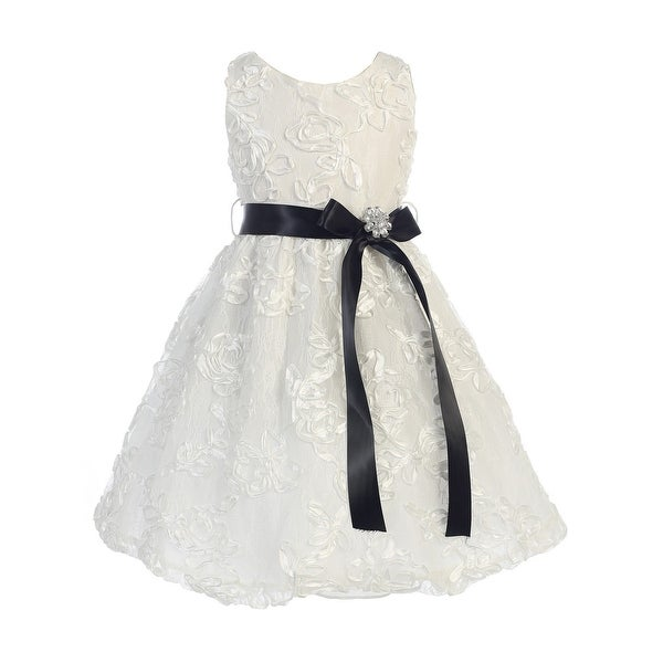 Shop Sweet Kids Girls Off White Black Lace Embroidered Flower Girl