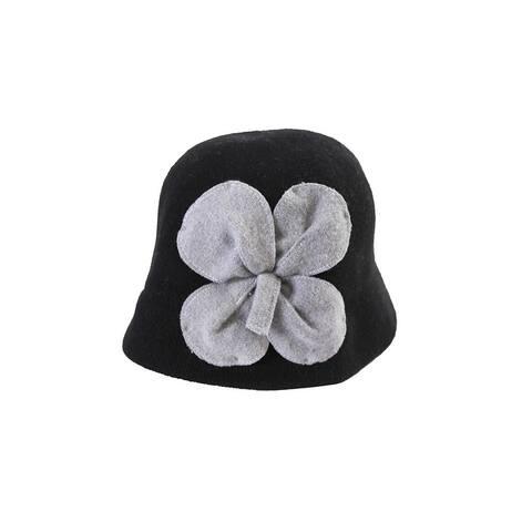 August Hat Black Grey Bouquet Cloche OS