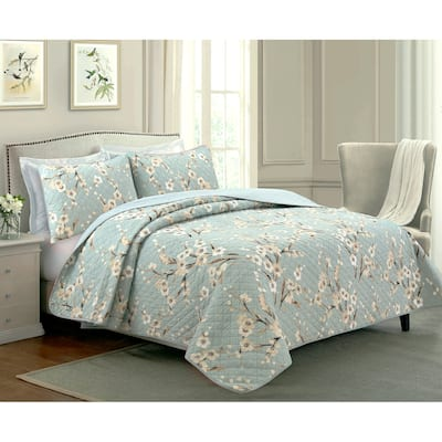Cozy Line Cream Cherry Blossom Floral Cyan Blue Green Quilt Bedding Set