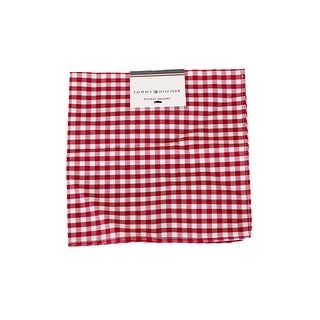 Tommy Hilfiger Men'S Men'S Red White Gingham Handkerchief Scarf OS