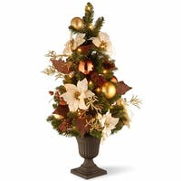 3' Pre-lit Potted Artificial Christmas Tree - Clear Lights - green