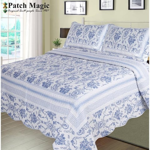 Classic Blue Wisteria Quilt, Floral Cabin Collection, Printed Quilts