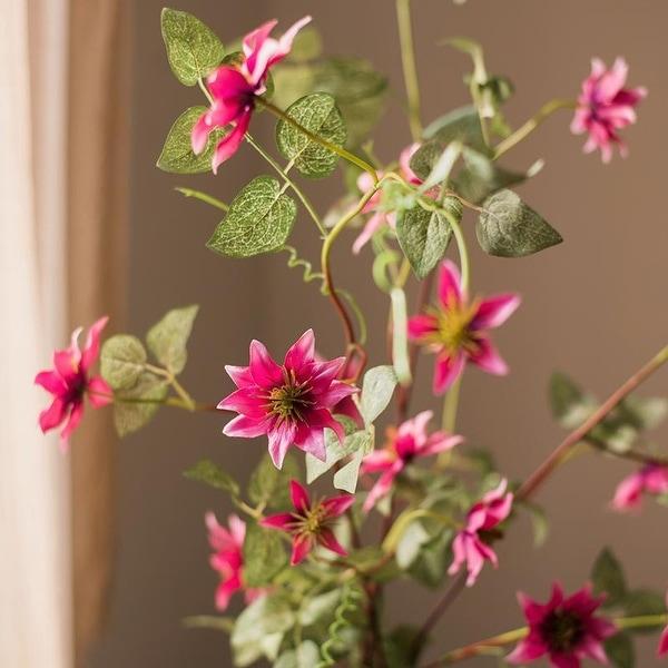 "RusticReach German Clematis Flower Stem in Rose Pink 40"" Tall"