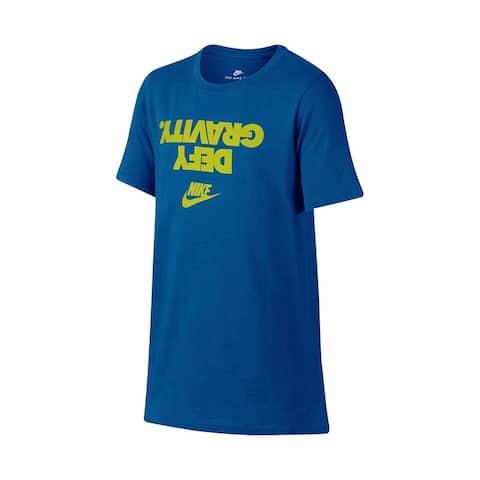 Nike Boys T-Shirt Green Blue Size Large L Crewneck Defy Gravity Tee