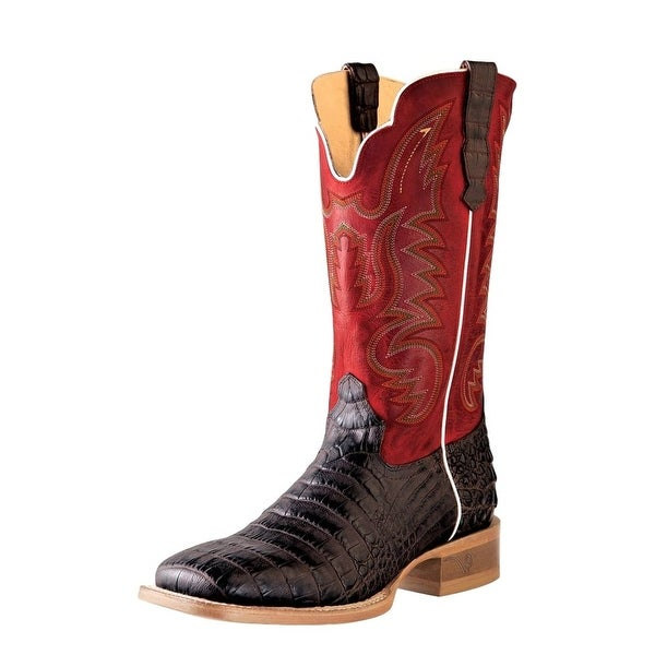 Outlaw Western Boot Men Caiman Print Corded Square Toe Chocolate
